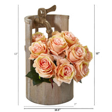 "12"" Rose Artificial Arrangement in Planter with Faucet"