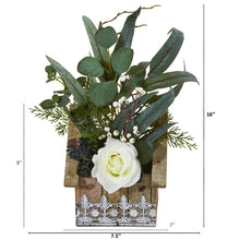 "16"" Rose and Eucalyptus Artificial Arrangement in Hanging Floral Design House Planter"