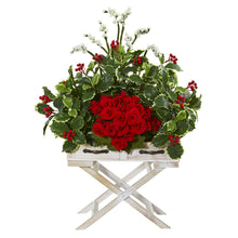 "28"" Begonia and Holly Leaf Artificial Arrangement in Drawer Planter"
