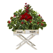 "26"" Poinsettia and Holly Berry Artificial Arrangement in Drawer Planter"