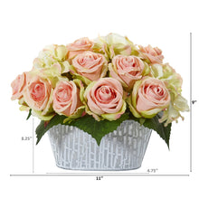 Rose and Hydrangea Artificial Arrangement in Decorative Vase