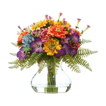"11"" Mixed Flowers Artificial Arrangement in Glass Vase"