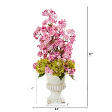 "29"" Hydrangea and Cherry Blossom Artificial Arrangement in White Urn"