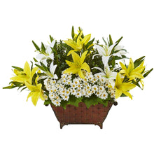 "20"" Lilly and Daisy Artificial Arrangement in Metal Planter"