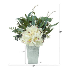 "21"" Cymbidium Orchid and Eucalyptus Artificial Arrangement"