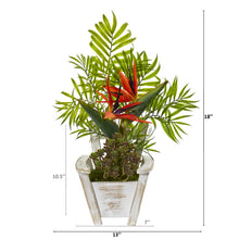 "18"" Bird of Paradise and Areca Palm Artificial Arrangement in Chair Planter"
