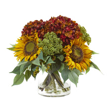 "11"" Sunflower and Hydrangea Artificial Arrangement"