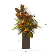 Pears, Magnolia Leaf and Fern Artificial Arrangement in Weathered Brown Planter