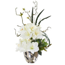 "24"" Amaryllis and Mixed Greens Artificial Arrangement in Silver Bowl"