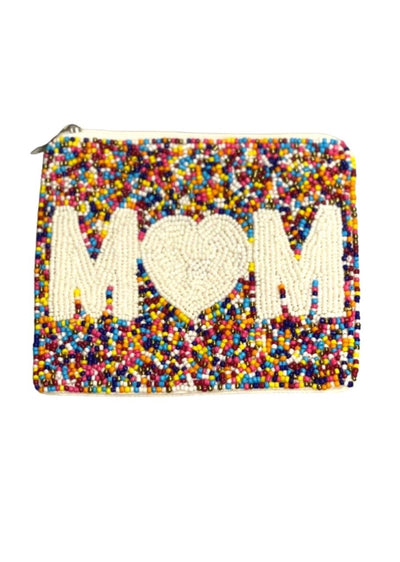 RAINBOW BEADED MOM COIN PURSE
