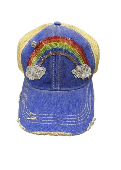 DENIM RHINESTONE RAINBOW
