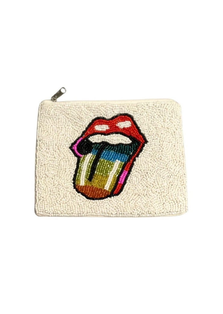 BEADED LIP COIN BAG