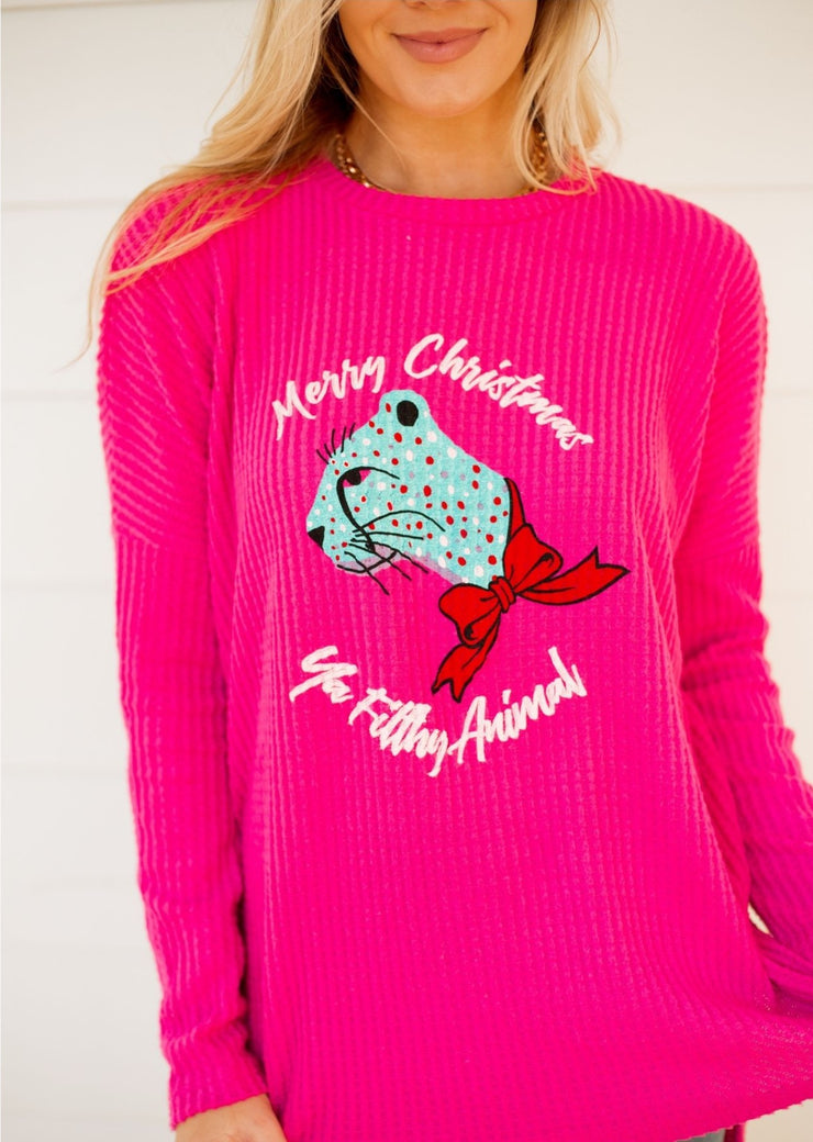 PINK MERRY CHRISTMAS YA FILTHY ANIMAL THERMAL