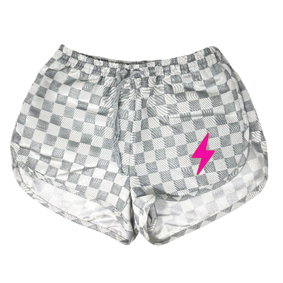 Checkered Track Shorts with Lightening Bolt