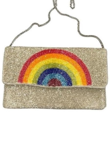 RAINBOW BEADED CLUTCH