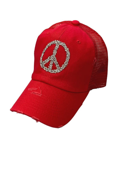 RHINESTONE PEACE SIGN PATCH