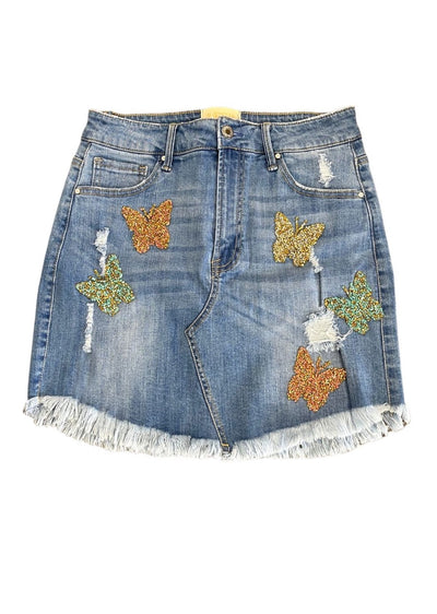 WINGING IT DENIM SKIRT