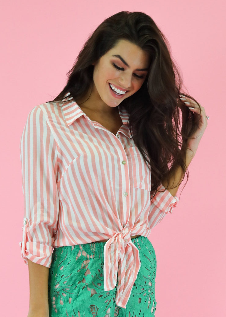 PINK STRIPE LINEN TOP