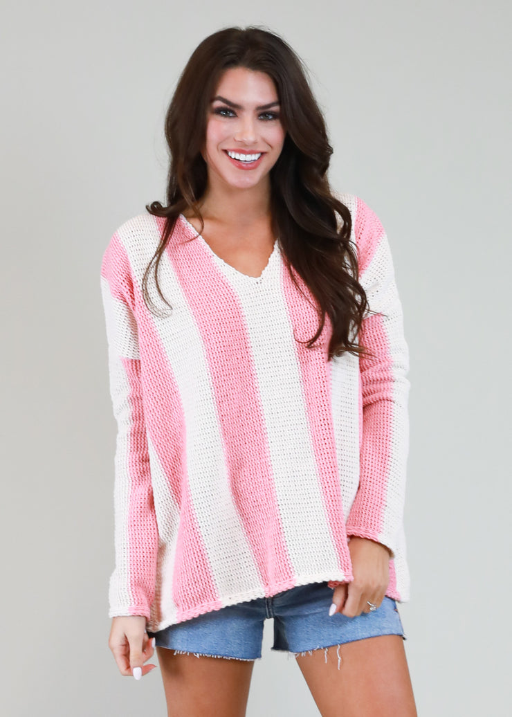 PINK AND WHITE STRIPE CHENILLE SWEATER