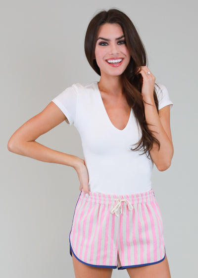 PINK AND WHITE CABANA STRIPE SHORTS