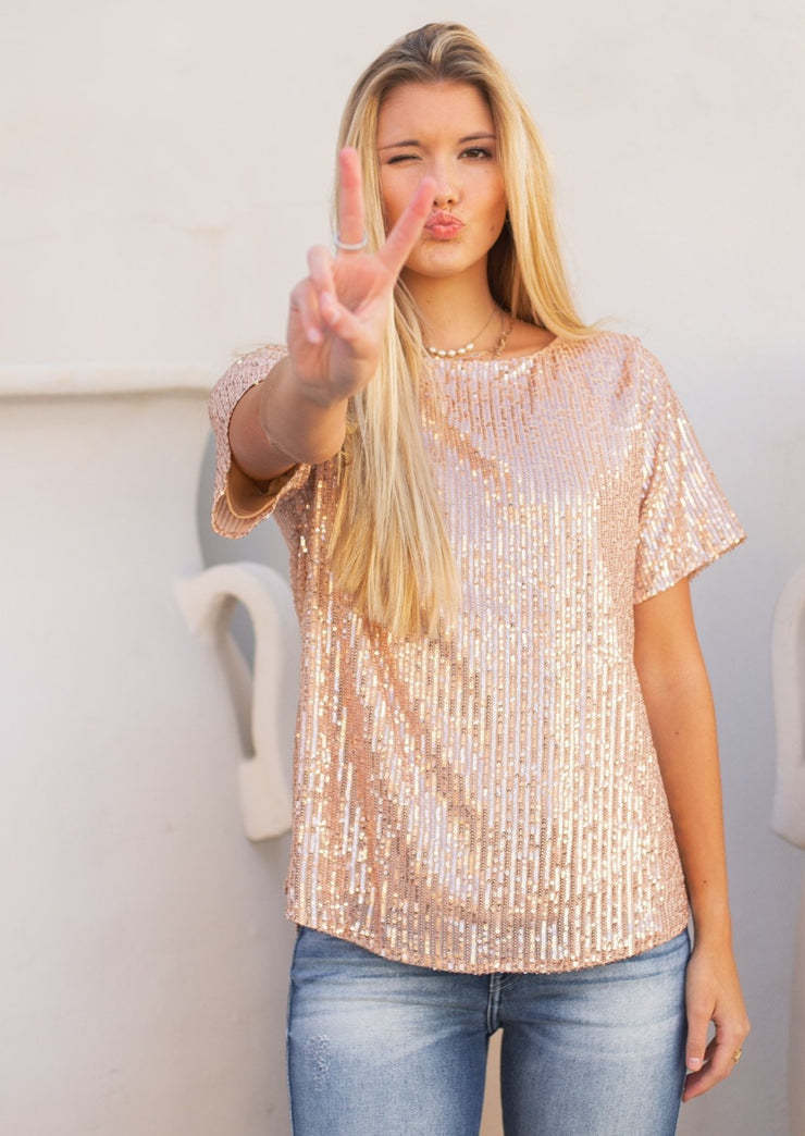SCARLET SEQUIN SHIRT