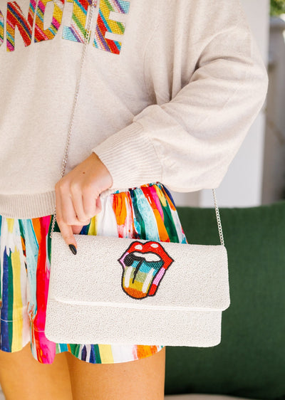 BEADED LIPS CLUTCH