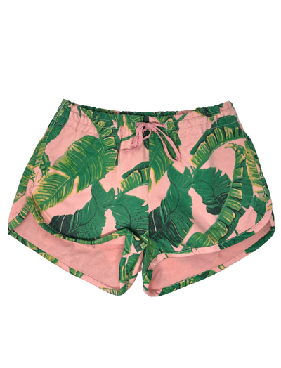BANANA LEAF DENIM TRACK SHORTS