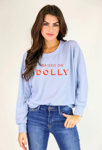 RAISED ON DOLLY WAFFLE KNIT TEE