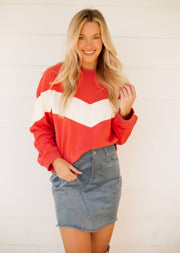 Red Chevron Sweatshirt
