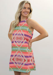 MALIBU AZTEC HIGH NECK SHIFT DRESS