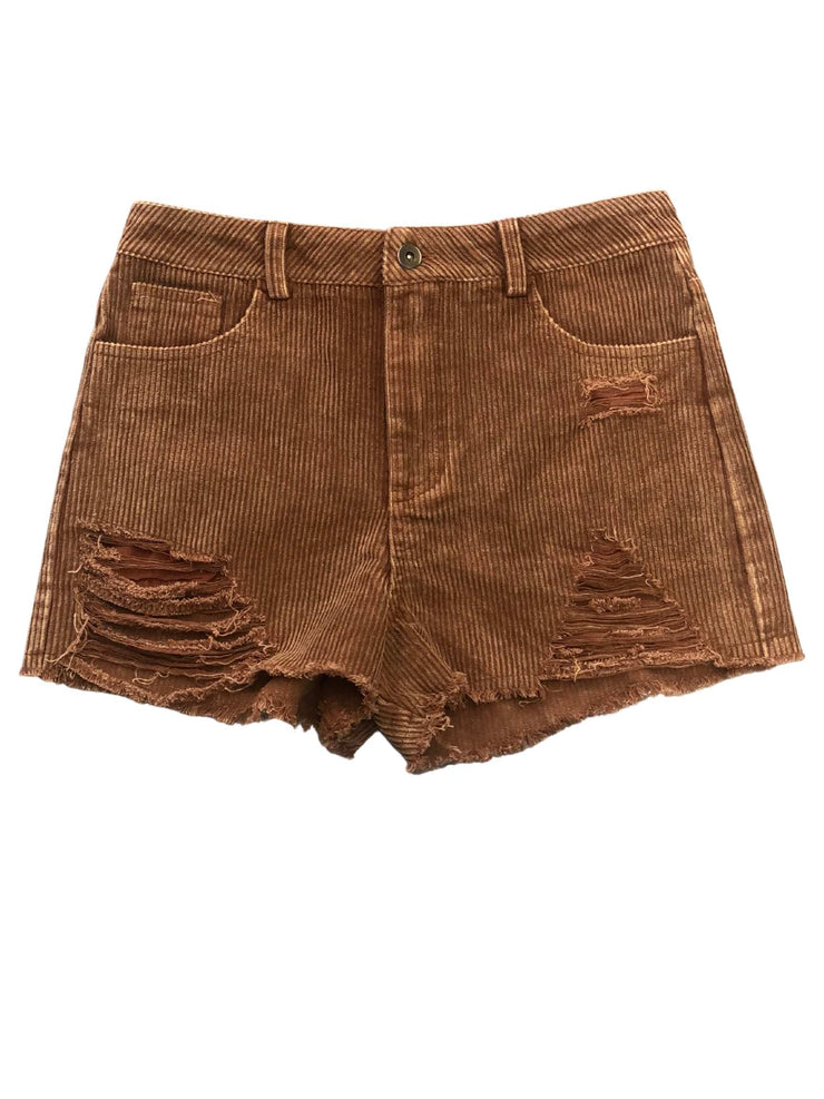 Corduroy Distressed Shorts