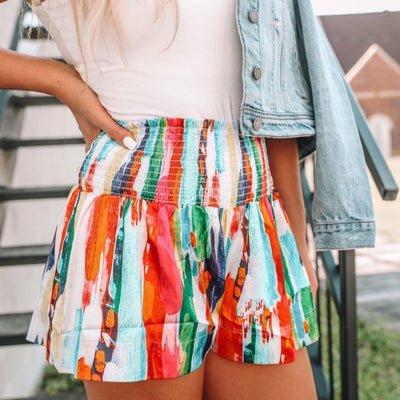 Rainbow Smocked Shorts