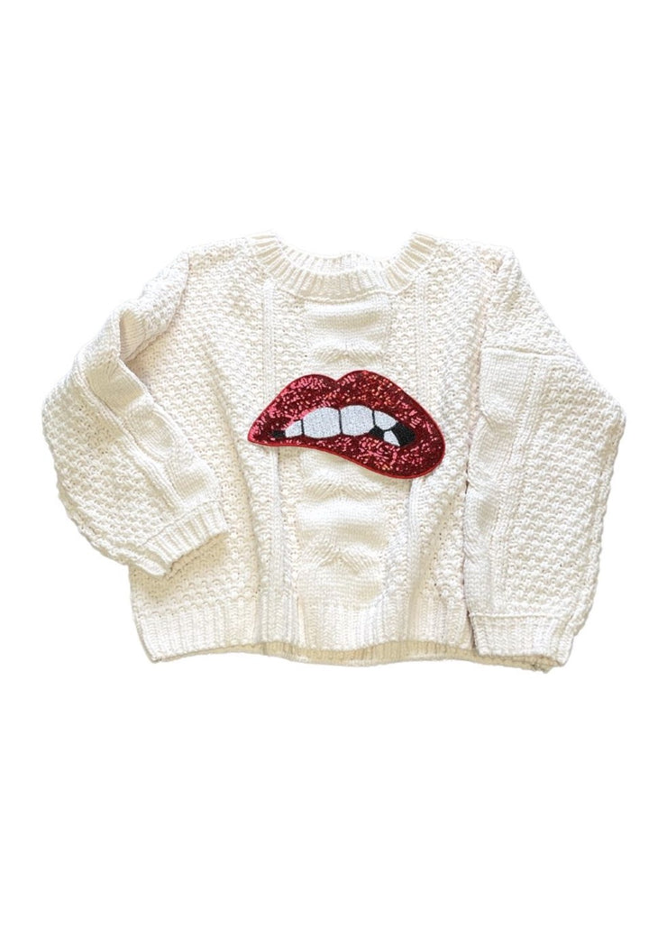 SEQUIN LIPS PULLOVER SWEATER