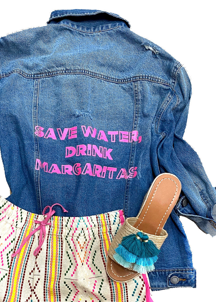 SAVE WATER DRINK MARGARITAS DENIM JACKET