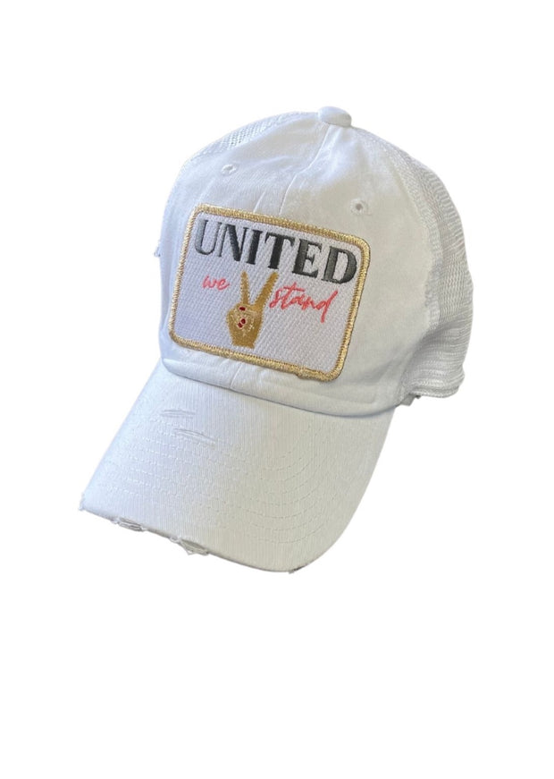 WHITE UNITED WE STAND HAT