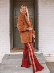 Rust Embroidered Flares