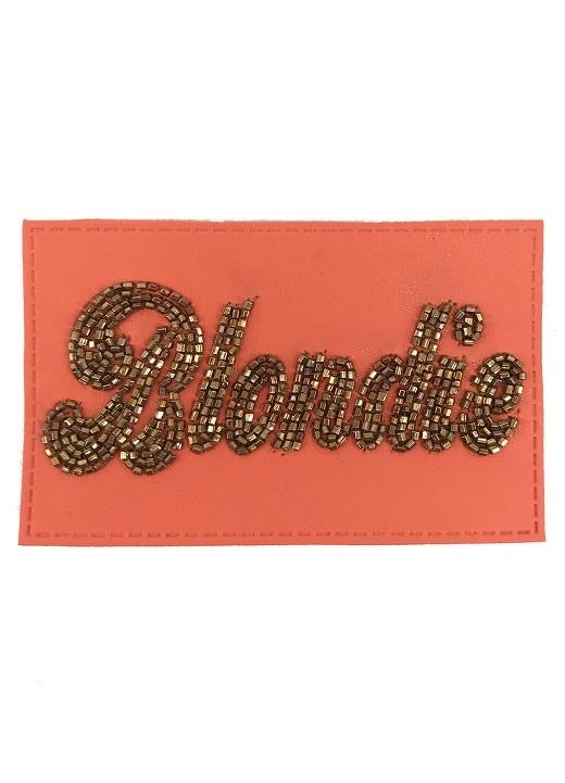 PINK BEADED LEATHER BLONDIE PATCH