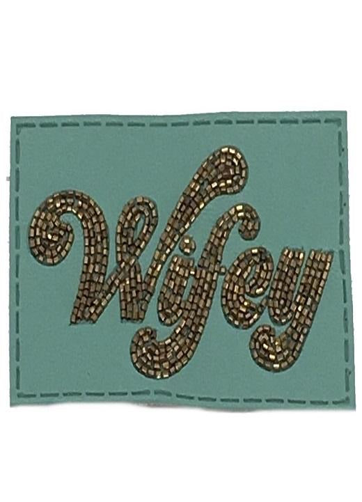TURQUOISE BEADED LEATHER WIFEY PATCH