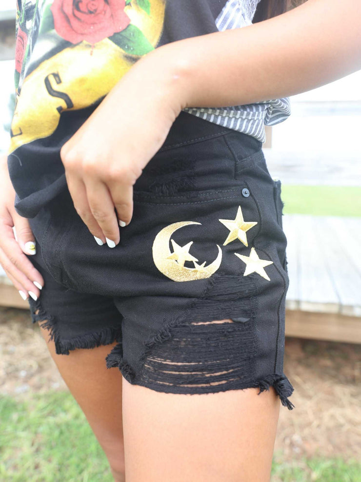 Moon and Star Denim Shorts