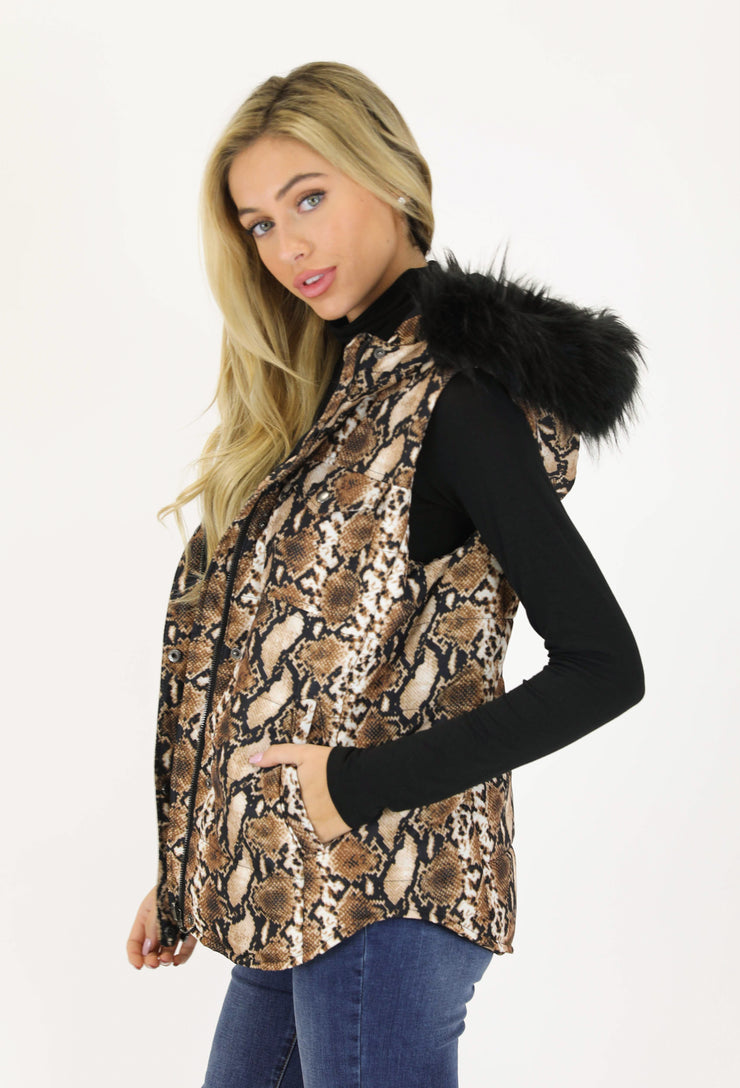 Snake Print Puffer Vest With Fur Trim