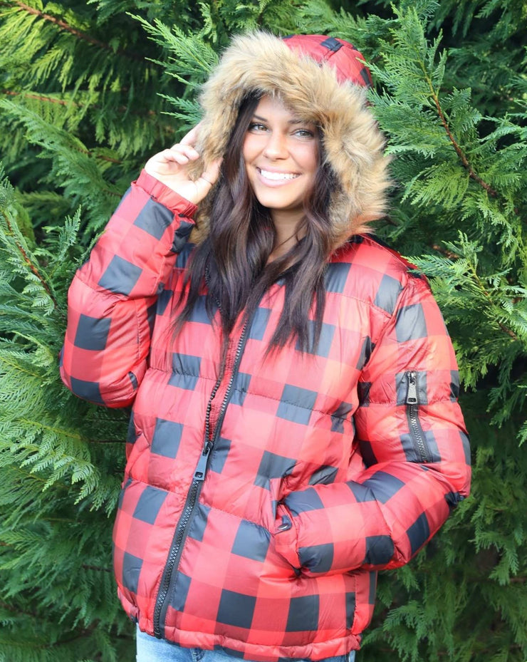 Plaid Puffer With Fur Trim