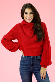 Cropped Cowl Neck Sweater