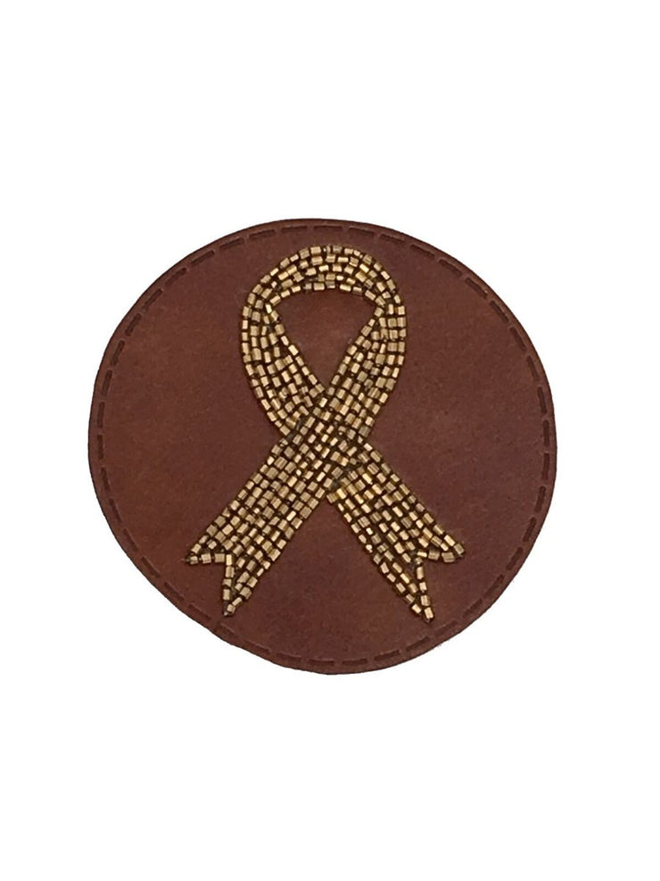 BEADED LEATHER RIBBON PATCH