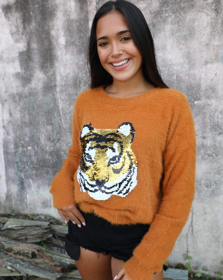 Go Tigers Rust Sequin Sweater