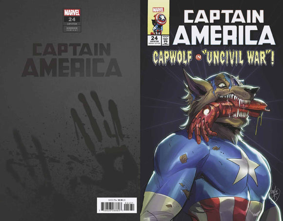 CAPTAIN AMERICA #24 ANDOLFO CAP WOLF HORROR VAR - MARVEL COMICS - Black Cape Comic