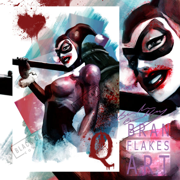 Bloody Harley Card Print Limited to 10 - Black Cape Comics - Black Cape Comic