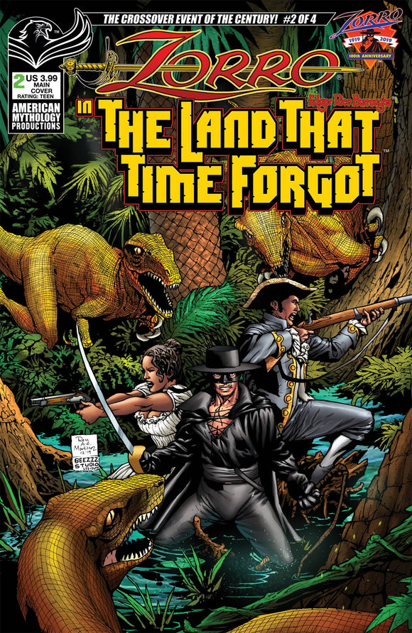 ZORRO IN LAND THAT TIME FORGOT #2 CVR A MARTINEZ - AMERICAN MYTHOLOGY PRODUCTIONS - Black Cape Comic