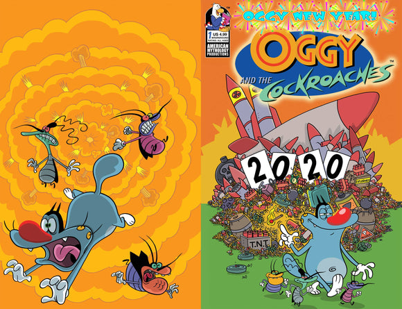 OGGY AND THE COCKROACHES OGGY NEW YEAR #1 CVR B RANKINE WRAP - AMERICAN MYTHOLOGY PRODUCTIONS - Black Cape Comic