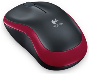 Logitech M185 Mouse - Wireless - Radio Frequency - 2.40 GHz - Red - USB - Symmetrical