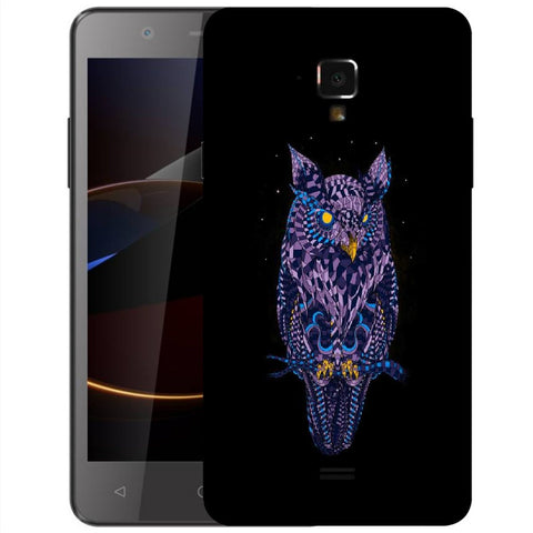 Snoogg Abstract Owl Designer Protective Back Case Cover For Swipe Elite 2 Plus